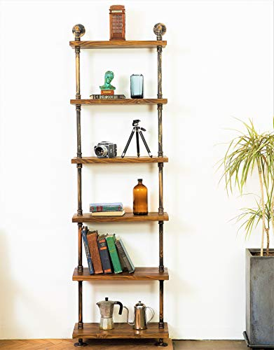 DEOKOR Pipe and Wood Shelves - Industrial Décor - Wood Pipe Bookshelves -Industrial 6-Tiers Rustic Modern Ladder Shelf - DIY Iron Pipe Wall Mounted Shelves in Color Special Walnut-10 kg - Diy Iron