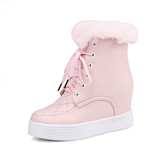 Allhqfashion Donna Lace-up Tacco Tacco Alto Pu Low-top Stivali Rosa