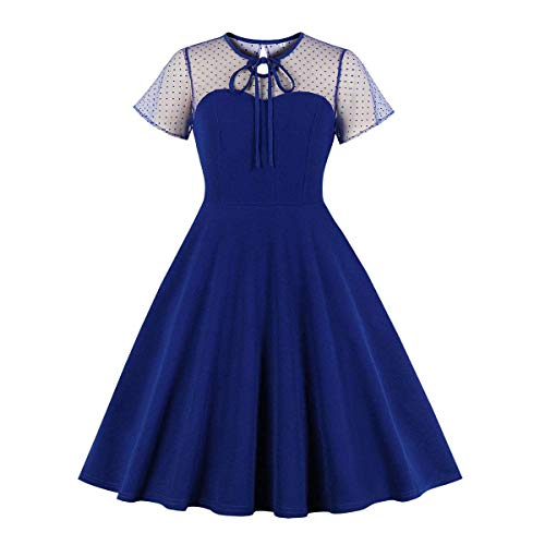 Women's Vintage 1950s Floral Lace Short Sleeve Cocktail Party Polka Dots Dress Up Retro Swing Dance Audrey Hepburn 50's 60's Cosplay Fancy Costume Royal Blue ()