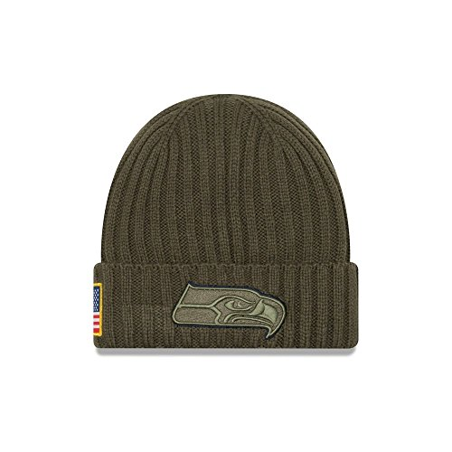 New Era Men's Men's Seahawks 2017 Salute to Service Cuffed Knit Hat Olive Size One Size