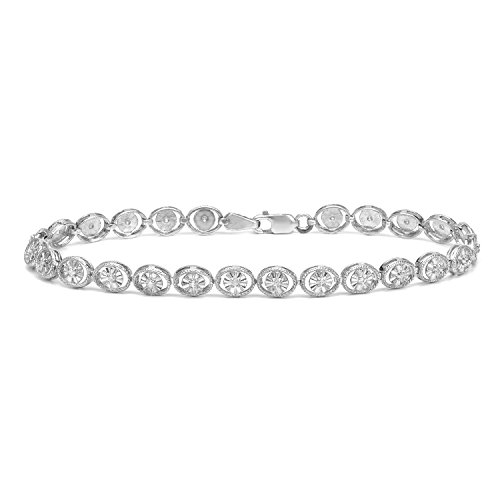 14k White Gold Round-cut Diamond Tennis Link Bracelet (1/4 cttw)