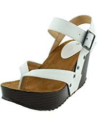 Women's Studded Ankle Strappy Buckle Thong Platform Wedge Sandal