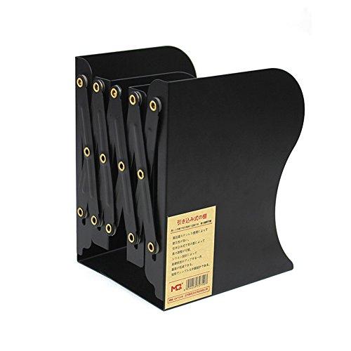 HaloVa Bookend, Heavy Duty Metal Book Organizer, Adjustable Durable Economy Decorative Bookshelf with Non-skid Base for Home Office Desk Books Storage, Black by HaloVa