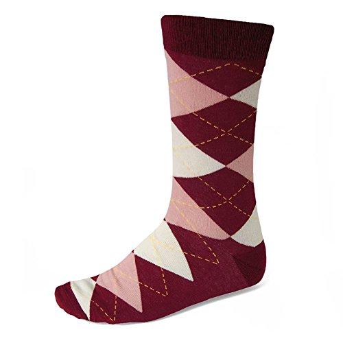 - TieMart Men's Argyle Socks (Burgundy and Blush)