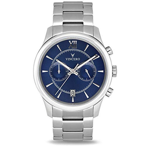 - Vincero Luxury Men's Bellwether Wrist Watch - Blue dial with Silver Stainless Steel Watch Band - 43mm Chronograph Watch - Japanese Quartz Movement