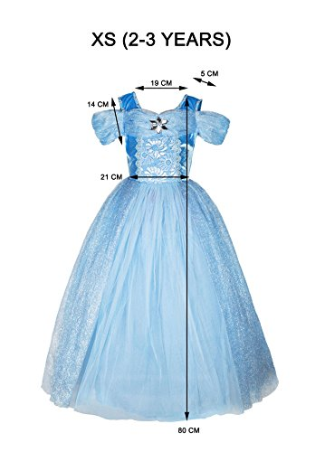 Princess Ball Gown (XS 2-3 years, Light Blue)