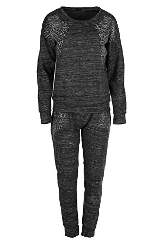 Womens Ladies Lipstick Sequin Angel Wing Diamante MARL Long Sleeves Tracksuit