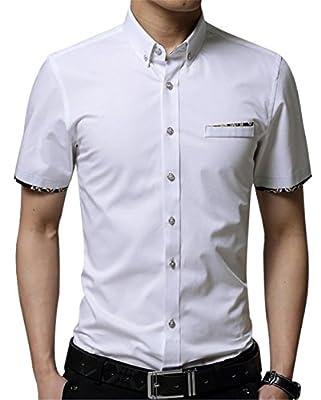 XTAPAN Men's Short Sleeve Casual Slim Fit Button Down Dress Cotton Printed Shirt