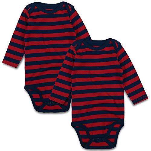 - Baby Bodysuit Pack 2 Long Sleeve Onesie for Newborn Boys Girls 0-24 Months (3-6 Months, Navy Blue/Red)