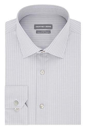 - Geoffrey Beene Men's Dress Shirt Slim Fit Stretch Stripe, Slate Grey, 16