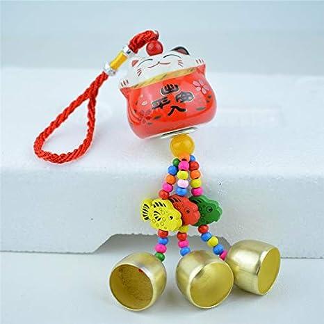 Amuleto de la Suerte Tradicional Amarillo Colgante de Campana Feng Shui con Porcelana Japonesa para Gatos Maneki Neko