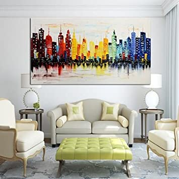 Modern City Canvas Abstract Painting Print Living Room Art Wall Decor No Frame 120x60 Cm Multicolour