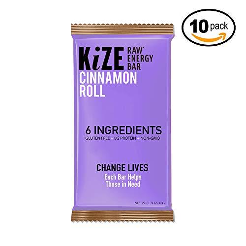 KiZE – (10 Pack) Raw Energy Bars – Cinnamon Roll – Non GMO, Gluten Free, No Added Sugar, Bulletproof