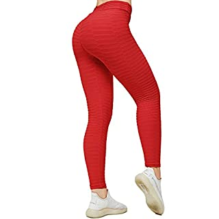 CFR Women's High Waist Yoga Pants Gym Workout Textured Leggings Tummy Control Slimming Booty Butt Lifting Tights #4 Net Red L
