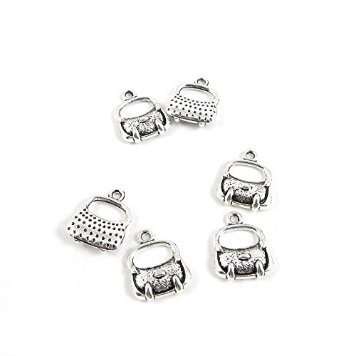 Charms Findings Purses (50 Pieces Antique Silver Tone Jewelry Making Charms K5CG1 Handbag Purse Pendant Ancient Findings Craft Supplies Bulk Lots)