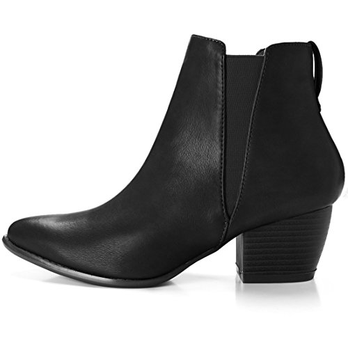 Us Toe Heel label Black Allegra 5 Ankle Sourcingmap Uk 7 K Size Stacked Chelsea Pointed Boots 9 Women's 5 wIUwf1xWYq