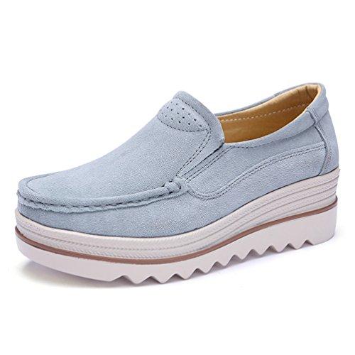 JRenok Femmes Chaussures à Plateforme Suède Printemps Eté Mocassins Loisir Chaussures de Ville Bateau à Enfiler 35-42 Gris 5EYHPf3r