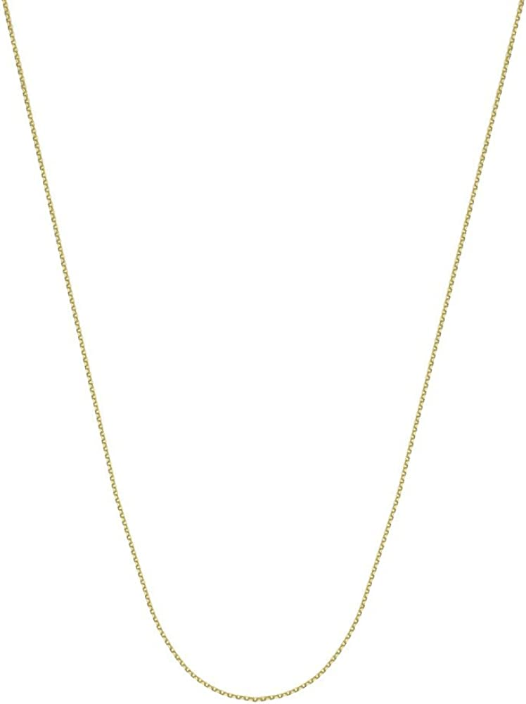 14k Yellow Gold 0.8mm Sparkle-Cut Cable Chain Necklace With 5mm Spring Ring Closure 16 18 20 24 Length Options