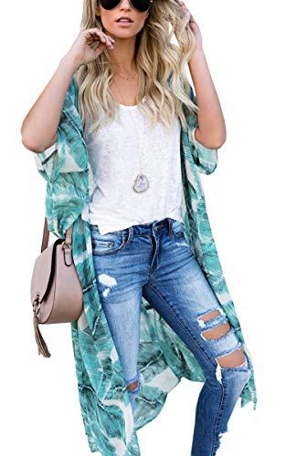 Hibluco Women's Floral Kimono Cardigan Sheer Tops Loose Blouse Cover Ups