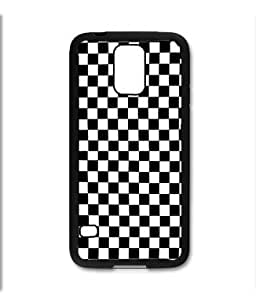 Samsung Galaxy S5 SV Black Rubber Silicone Case - Black and White Checkers Checkerboard Pattern by runtopwell
