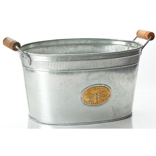 KINDWER Galvanized Bumblebee Oval Tub, Silver A1258