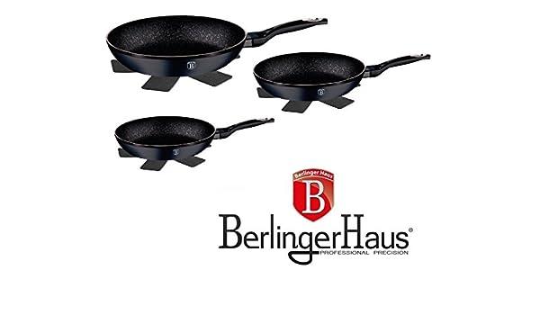 Top SHOP Berlinger Haus Juego 3 Sartenes con control de temperatura de mármol negro: Amazon.es: Hogar