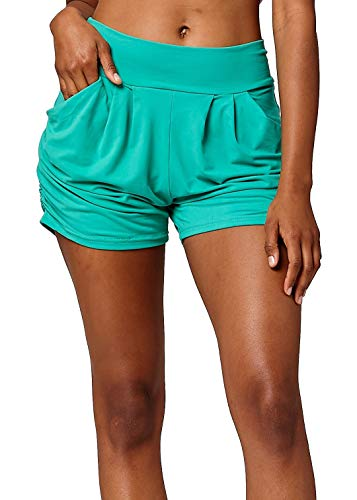 - Premium Ultra Soft Harem High Waisted Shorts for Women with Pockets - Solid - Kelly Green - Large/X-Large (12-18)
