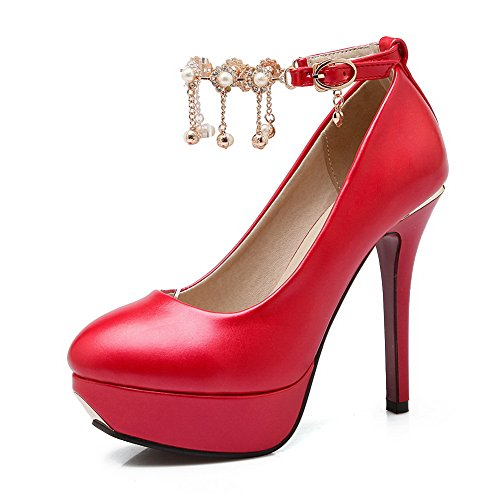 in 35 stilettos da donna con perline pumps Rosso shoes Red vernice spikes BalaMasa WwaY64Aq