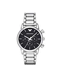 Emporio Armani Chronograph Black Dial Stainless Steel Mens Watch AR1853