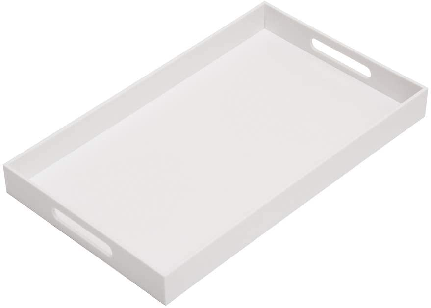 Glossy White Sturdy Acrylic Serving Tray with Handles-12x20Inch-Serving Coffee,Appetizer,Breakfast,Butler-Kitchen Countertop Tray-Makeup Drawer Organizer-Vanity Table Tray-Ottoman Tray-Decorative Tray