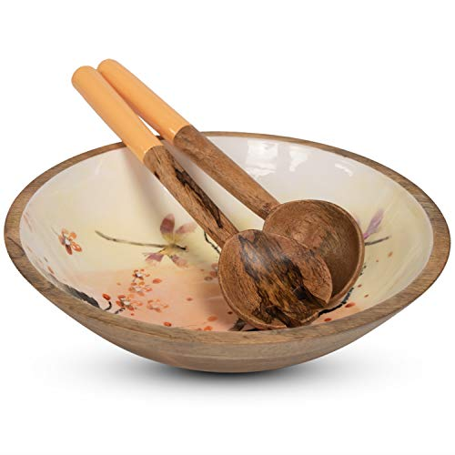 Wooden Salad Bowl Set with Servers - Large 12 Inch Round Mango Wood Serving Bowl with Spoons for Soups, Fruit, Pasta, Caesar, Tossed, and Mixed Salads | Natural Mango Wood Serving Bowl Set