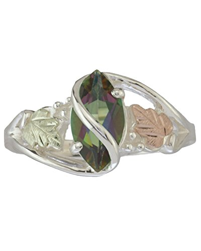 Mystic Fire Topaz Marquise Wrap Ring, Sterling Silver, 12k Green and Rose Gold Black Hills Gold Motif, Size - Mom Gold Black Ring Hills