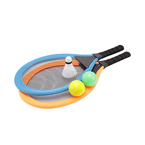 (Greatstar Badminton Tennis Rackets Set with Balls for Kids - Cloth Edge 2 in 1 Beach Garden Outdoor Sports Play Game Toy for Children 3 4 5 6 Years Old)