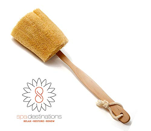 The Utimate Loofah Back Brush with Detachable Wooden Handle by Spa Destinations
