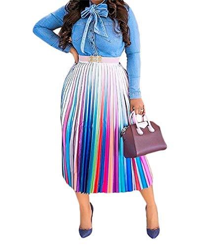 Womens Sexy Rainbow Striped Midi Skirt Elegent Ruffled High Waist A Line Skirts Plus Size Night Club Cocktail
