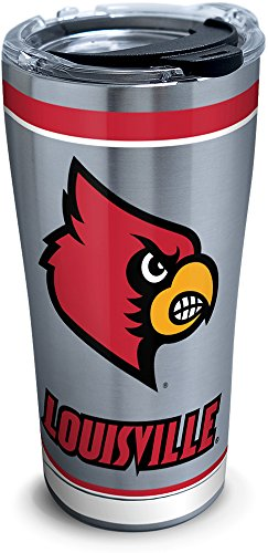 Tervis 1297991 Ncaa Louisville Cardinals Tradition Stainless Steel Tumbler With Lid, 20 oz, Silver