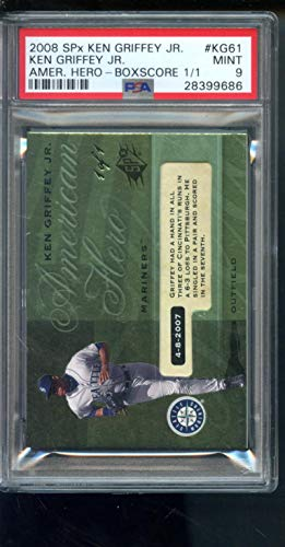 2008 Upper Deck SPx American Hero #KG61 Boxscore Ken Griffey Jr. 1/1 Insert MINT MLB PSA 9 Graded Baseball Card