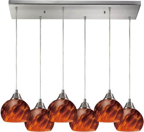 Elk 101-6RC-ES 30 by 9-Inch Mela 6-Light Pendant with Espresso Glass Shade, Satin Nickel Finish ()