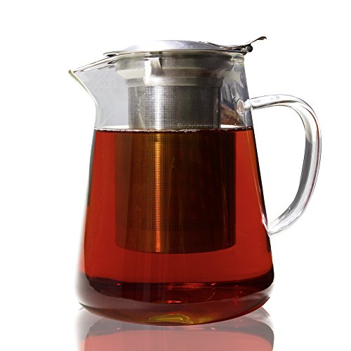 Glass Teapot Pitcher with Stainless Steel Infuser set - Brew loose leaf tea, hot or cold (makes 32 oz of tea)