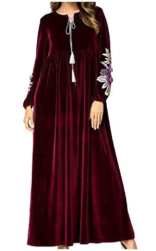 Fieer Womens Caftan Middle East Arabic Embroidery Abaya Jilbab Muslim Dress Wine Red L