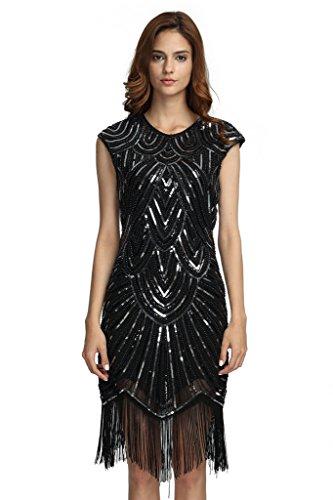 Silver 1920s Dress (Deargles Women's Flapper Dresses 1920s Beaded Fringed Classic Gatsby Dress XPR002 Black Silver L)