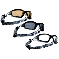 BOLLE TRACKER II SAFETY GLASSES IN CLEAR, SMOKE AND YELLOW WITH MICROFIBRE BAG