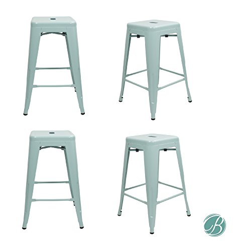 """Set of 4 Metal Bar Stool 24"""" Milani Pale Green Stackable, Indoor/Outdoor, Counter Stools, Kitchen Bar Stools, Industrial, Galvanized Steel, Counter Stool"""