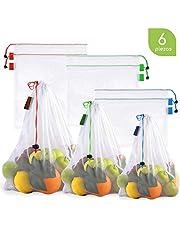 Bableco Set de 16 Bolsas Reusables para Fruta y Verdura. Bolsas Reutilizables de Malla para Guardar Fruta y Verdura. Disponible en Varios sets de 6, 9, 12, 15, 16 y 19 Piezas.