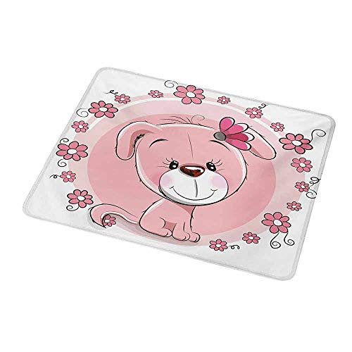 Customized Gaming Mouse Dog,Cute Little Puppy with Daisy Flowers Cheerful Adorable Domestic Pet Girls,Pale Pink Coral White,Non-Slip Personalized Rectangle Mouse pad 9.8