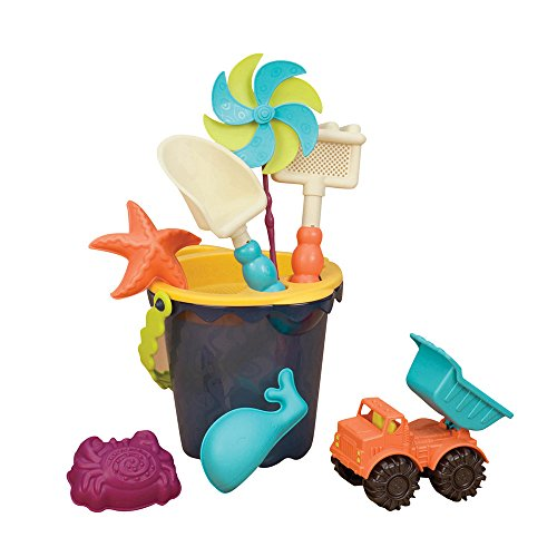 B. toys – Sands Ahoy – Beach Playset - Medium Bucket Set (Navy) with 9 Unique Sand & Water Toys –Phthalates and BPA Free – 18 m+
