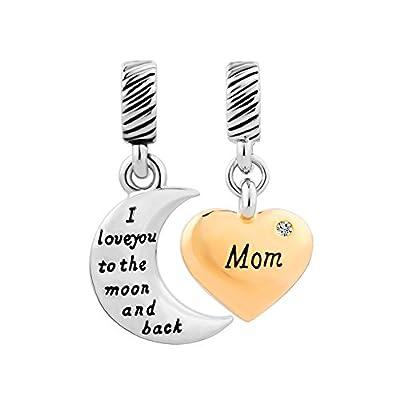 I Love You To The Moon And Back Crystal Mom Heart Charm Sale Cheap Dangle Beads Fit Pandora Charms Bracelet