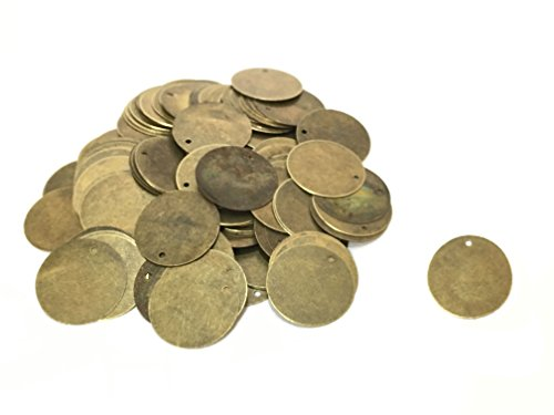 200 Antique Bronze Tone 13/16 Inch Metal Blanks Round Circle Metal Stamping Blank and Crafting Tags 20mm Diameter Stamping Blanks - Round Wire Die 1