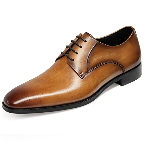 GIFENNSE Men's Leather Oxford Dress Shoes Formal Lace Up Modern Shoes(11US/Brown