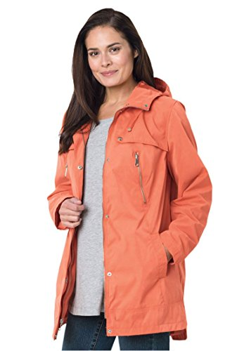 Women's Plus Size Hooded A-Line Jacket Sunset Coral,2X